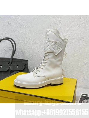 Fendi White Calfskin Lack-up boots 2021 Collection