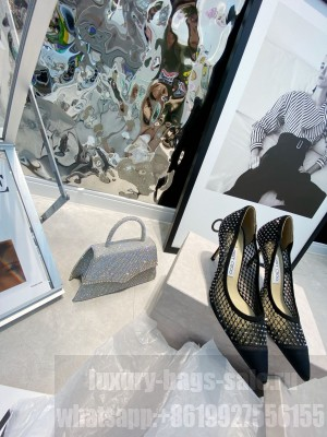 Jimmy Black Mesh Crystal 8.5cm Pumps 2021 Collection