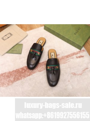 Gucci Leather Slipper with Tassels Black 2021 Collection