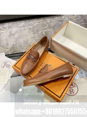"""Hermes signature """"H"""" Flat loafer Brown 2021 Collection"""