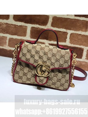 Gucci GG Diagonal Marmont Mini Top Handle Bag 583571 Beige/Red 2020 Collection