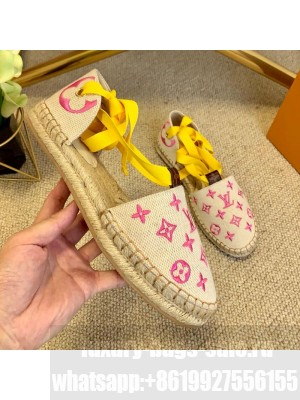 Louis Vuitton Starboard Monogram Canvas Espadrilles with Ankle Laces Yellow 2021 Collection