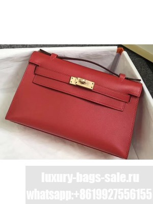 Hermes Kelly 22 Clutch Bag In Original Swift Leather Red