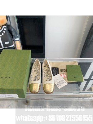 Gucci ballet flat with Interlocking G White leather with gold metallic tip 2021 Collection