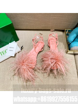 Bottega Veneta FEATHER DOT Leather and ostrich feather flat sandals FLAMINGO 2021 Collection