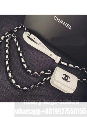 Chanel Quilted Grained Calfskin Chain Belt Bag/Airpods Pro Holder AP1956 White  2021 Collection
