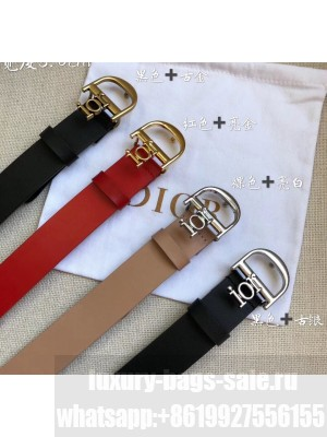 Dior Width 3cm Calfskin Belt With Special Dior Buckle 11 Nude/Black 2020 Collection