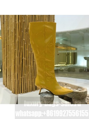 Prada Heel 6cm Patent Leather Pointed Boots Yellow 2020 Collection