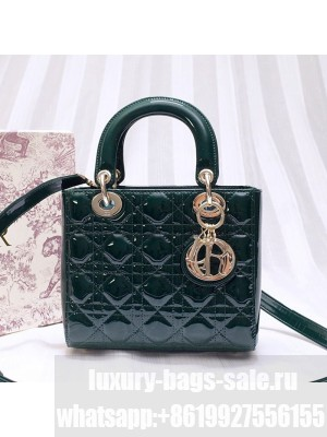 Dior Lady Dior Bag in Patent Leather 20cm Green 2019 Collection