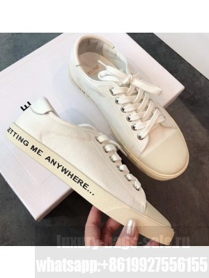 Celine Blank Low Lace Up Sneakers in Canvas and Calfskin Print 2020
