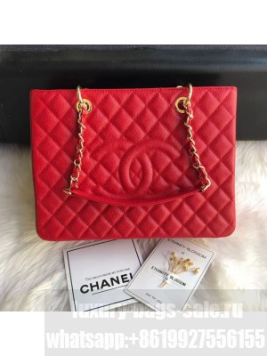 Chanel Grained Calfskin Grand Shopping Tote GST Bag Red/Gold Collection