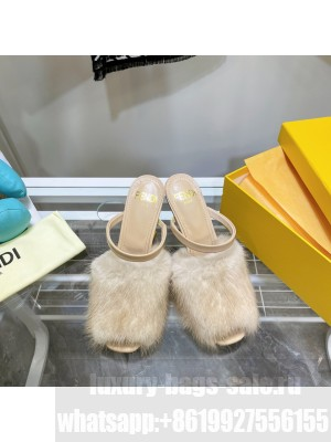 FENDI FIRST Nude mink high-heeled sandals 2021 Collection
