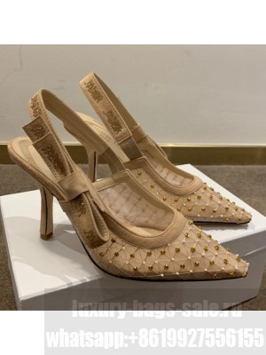 Dior J'Adior Slingback Pumps 9.5cm in Crystal Mesh Embroidery Nude/Yellow Spring/Summer 2021 Collection