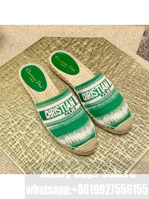 Dior Granville Espadrille Mules in Green D-Stripes Embroidered Cotton Spring/Summer 2021 Collection