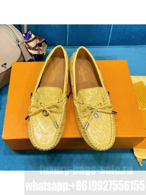 Louis Vuitton 1A3QO2 Gloria Monogram Leather Flat Loafer Light Yellow 2021 Collection