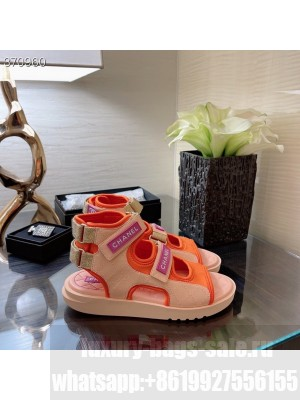 Chanel Velcro Strap Gladiator Sandals Lambskin Leather Spring/Summer 2021 Collection, Pink/Red/Beige