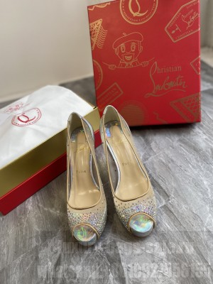 Christian Louboutin Grained Leather Crystal Mesh 10cm Peep-toe Platform 2021 Collection