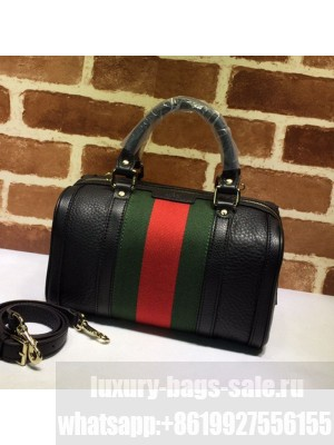 Gucci Small Vintage Leather Web Boston Bag 269876 Black  Collection