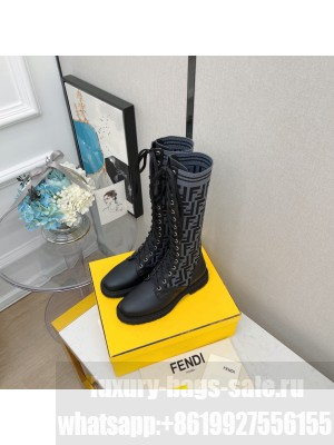 FENDI ROCKOKO Black leather Lace-up high boots with gray stretch fabric 04 2021 Collection