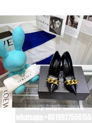 VERSACE MEDUSA CHAIN NAPPA LEATHER PUMPS BLACK 2021 Collection