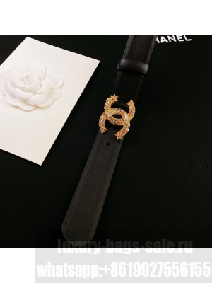Chanel Calfskin Belt 3cm with Star CC Buckle Black  2021 Collection 02
