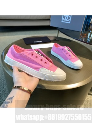 Chanel Canvas Platform Open Sneakers Pink 2021 Collection