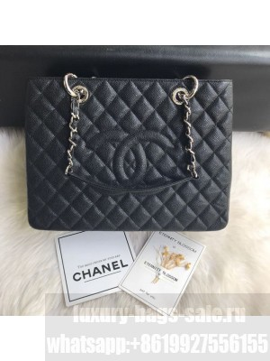 Chanel Grained Calfskin Grand Shopping Tote GST Bag Black/Silver Collection
