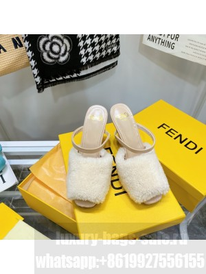 FENDI FIRST white Shearling high-heeled sandals 2021 Collection