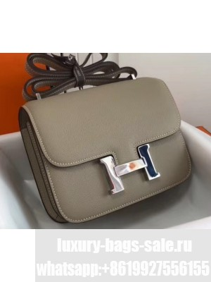 Hermes Constance Mini/MM Bag in Epsom Leather Light Gray with Silver Hardware