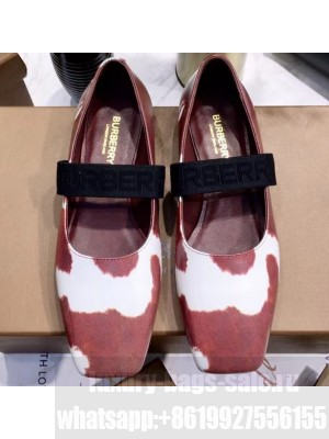 Burberry Logo Detail Leather Flats White/Red 2020