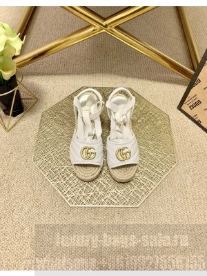 Gucci GG Lambskin Wedge Sandals White 2021 Collection