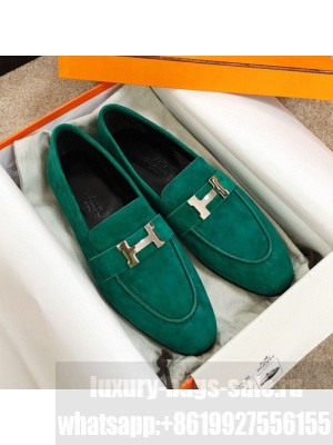 Hermes Paris Suede Flat Loafers Green 2020 Collection
