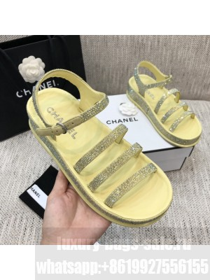 Chanel Yellow Diamond Flat Embroidered Logo Sandals  2021 Collection