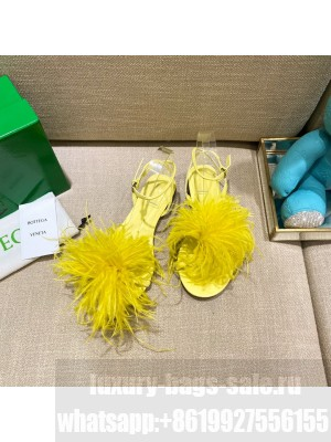 Bottega Veneta FEATHER DOT Leather and ostrich feather flat sandals Yellow 2021 Collection