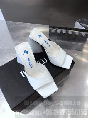 """The Attico """"Devon""""White Patent Leather mule with pyramid heel, height 115mm Spring/Summer 2021 Collection"""