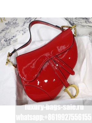 Dior Saddle Bag in Patent Calfskin Red 2020 Collection