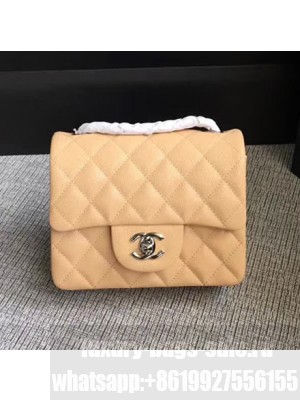 Chanel Classic Flap Mini Bag A1115 in Caviar Leather Apricot with Silver Hardware