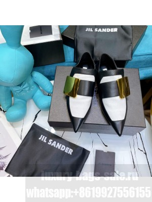 JIL SANDER Flat pointed-toe loafers with large brass buckle detail black/white 2021 Collection