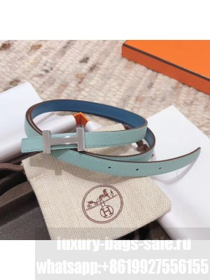 Hermes Width 1.3cm Swift & Epsom Leather Reversible Belt With H Buckle Blue 2020 Collection
