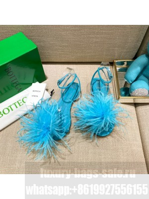 Bottega Veneta FEATHER DOT Leather and ostrich feather flat sandals Turquoise Blue 2021 Collection