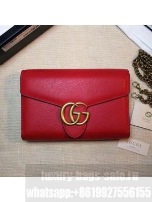 Gucci GG Marmonet Leather Mini Chain Bag 401232 Red Collection