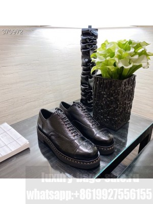 Chanel Lace Up Loafers Lambskin Leather Spring/Summer 2021 Collection, Black