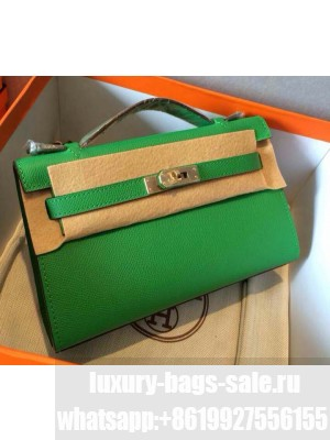 HERMES KELLY 22 EPSOM LEATHER CLUTCH BAG IN grass green