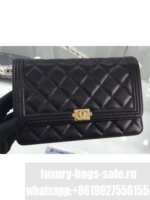 Chanel Grained Leather Boy Wallet On Chain WOC Bag A80287 Black/Gold