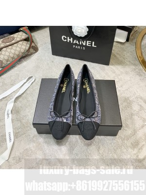 Chanel Ballerina Flats Tweed/Lambskin Leather Spring/Summer 2021 Collection, Blue/Black