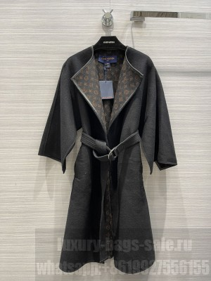 Louis Vuitton 1A99K4 BELTED DOUBLE FACE HOODED WRAP COAT Black 2021 Collection