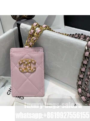 Chanel 19 Leather Badge Holder with Chain AP1745 Light Pink  2021 Collection