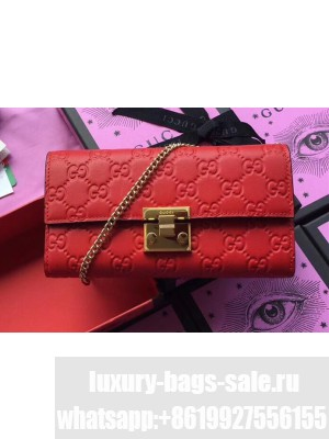 Gucci Padlock GG Signature Leather Continental Chain Wallet 453506 Red