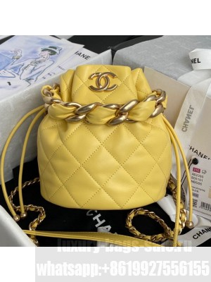 Chanel Shiny Lambskin Drawstring Bucket Bag AS2390 Yellow Spring/Summer 2021 Collection