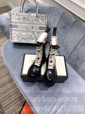 Gucci Mid Calf Platform Lace Up Biker Boots Calfskin Leather Fall/Winter 2020 Collection, Black